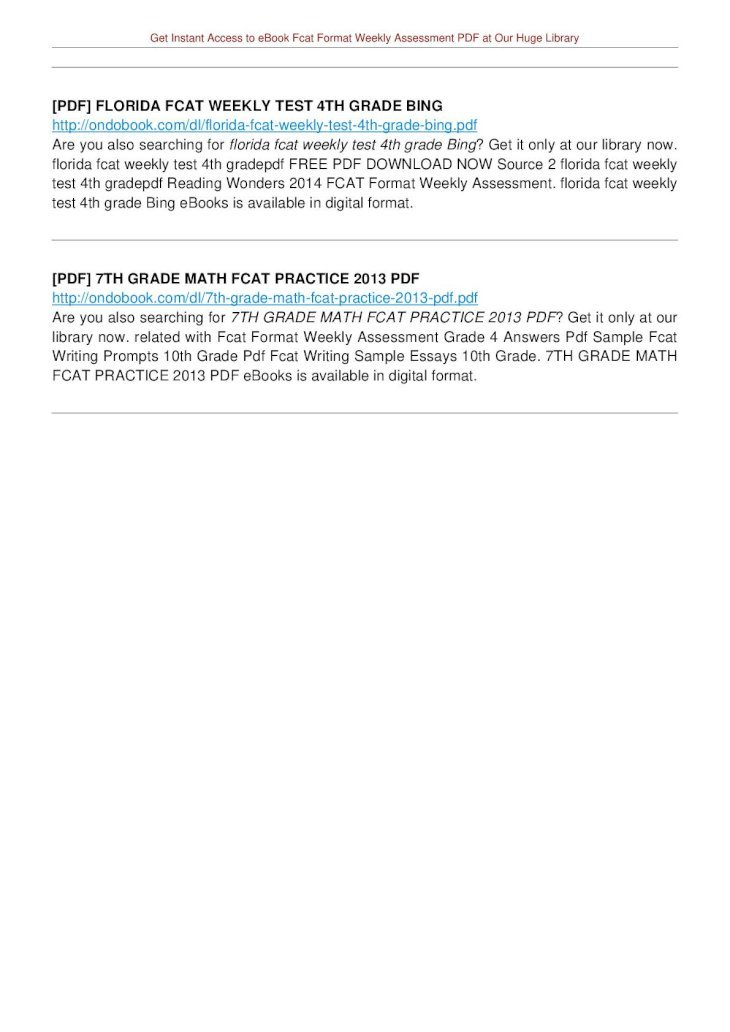 FCAT FORMAT WEEKLY ASSESSMENT PDF - Weekly Assessment ...